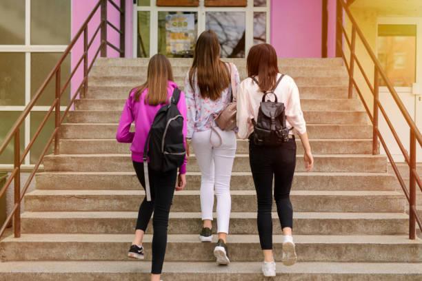 foto de árbol joven escuela de niñas en el edificio de la escuela. - regreso a clases fotografías e imágenes de stock