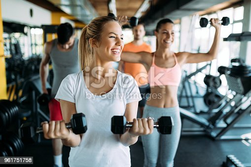 istock Picture of two fitness women in gym 961751758