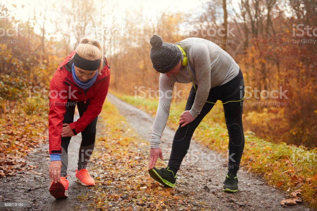 Picture of two mature adults exercising stock photo