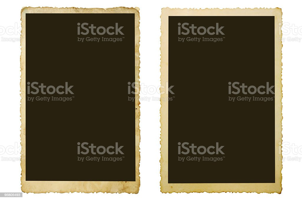 A picture of two old photos on a white background stock photo