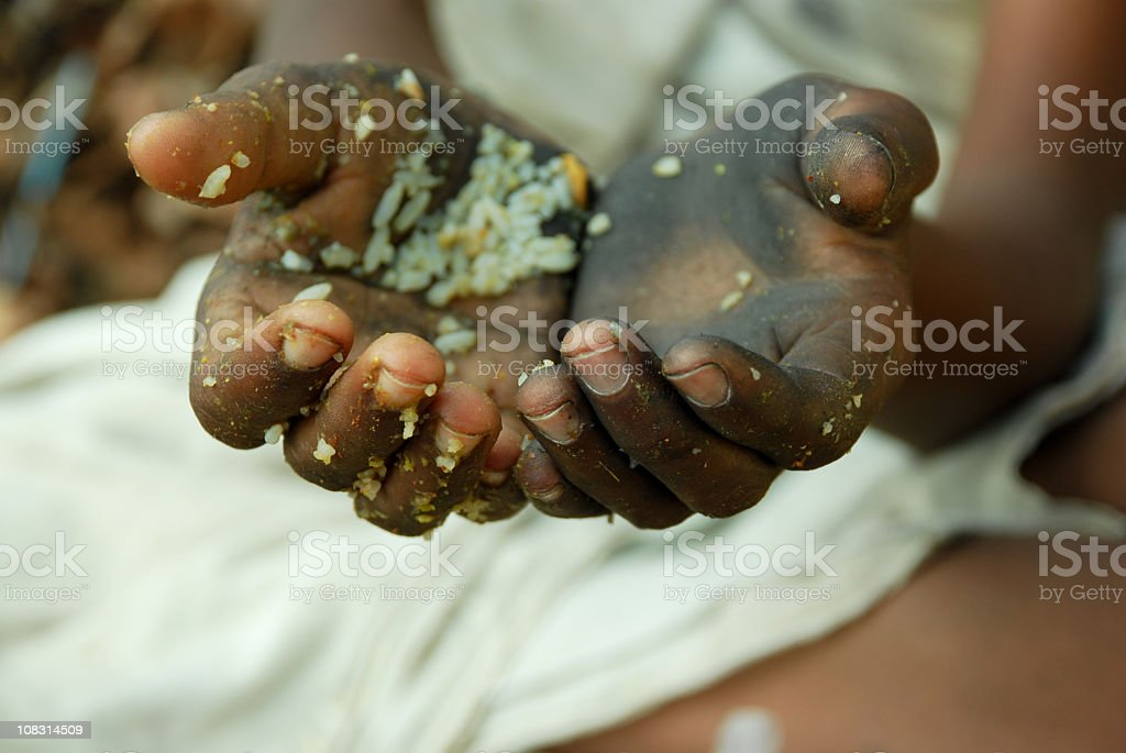 A picture of two unwashed hands stretching out to beg royalty-free stock photo