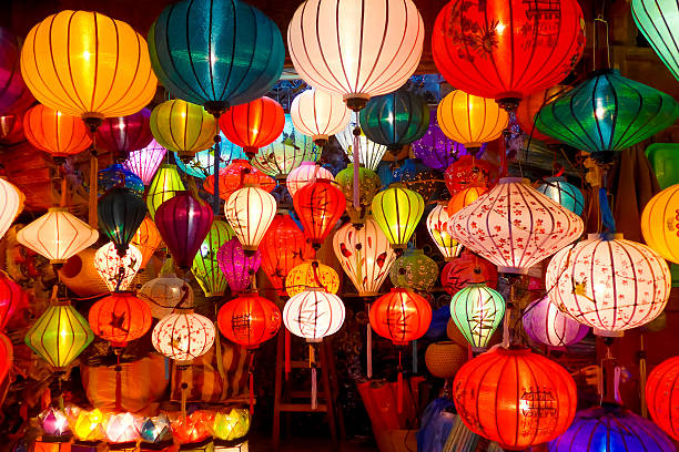 picture of various hanging chinese lanterns - rislampa bildbanksfoton och bilder