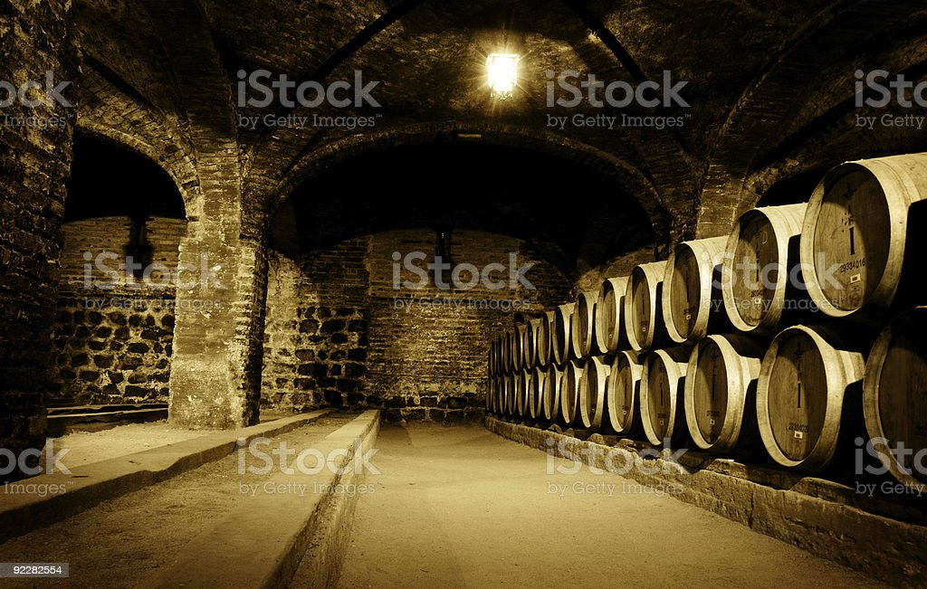 Picture of wine cellar in sepia filter royalty-free stock photo