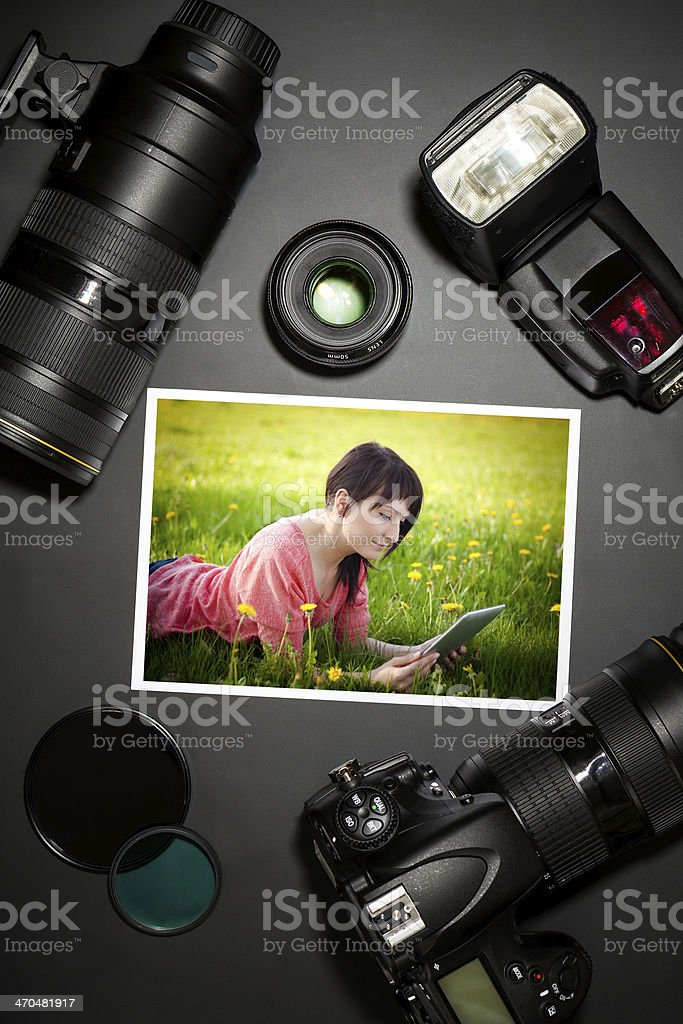 camera and lense on black showing photographer still life