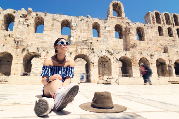Picture of woman tourist in Athens stock photo
