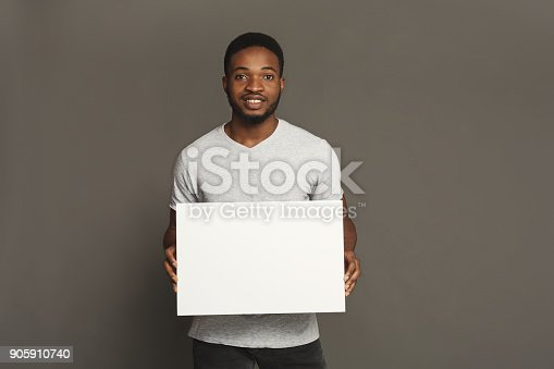 896826068 istock photo Picture of young african-american man holding white blank board 905910740