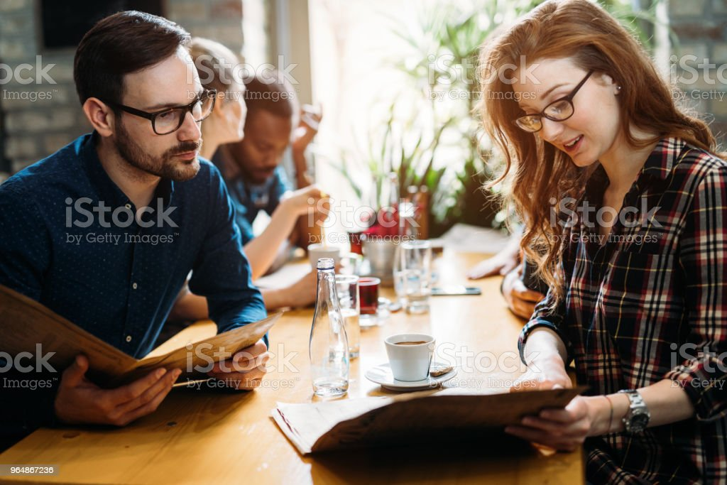 Picture of young business colleagues on break royalty-free stock photo