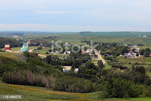 High angle  July view of the small town of Rosebud in Southern Alberta.  Known for it's live theatre.
