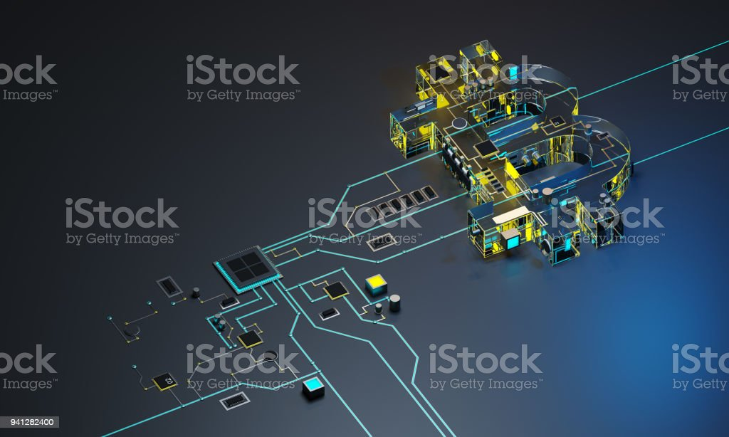 3D picture processor and cryptocurrency. stock photo