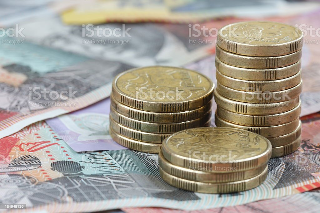Picture showing Australian savings in paper money and coins stock photo