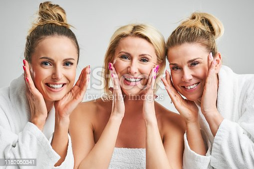Group of happy friends in spa