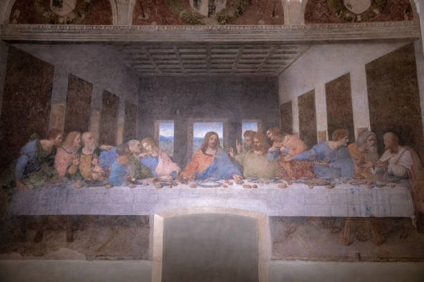 Picture The Last Supper by Leonardo da Vinci Milan, Italy - June 27, 2018: Interior of refectory of the convent Santa Maria delle grazie (Holy Mary of Grace), on wall mural of The Last Supper by Leonardo da Vinci last stock pictures, royalty-free photos & images