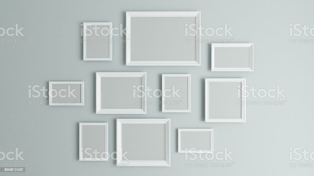 picture white border frame 3D rendering stock photo