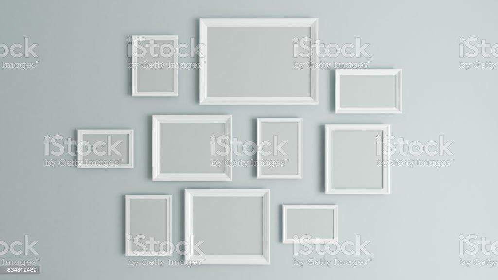 picture white border frame 3D rendering stock photo