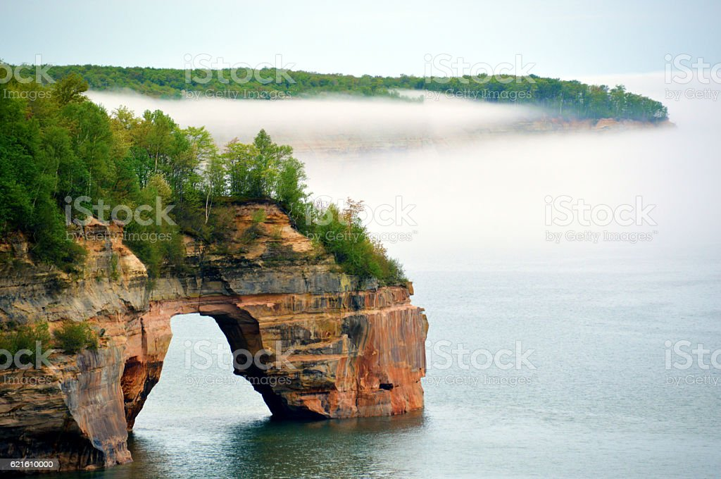 Pictured Rocks Arch stock photo