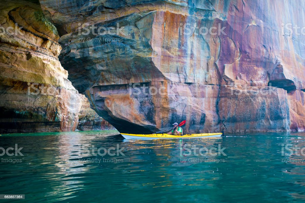 Pictured Rocks Kayaker Arch stock photo