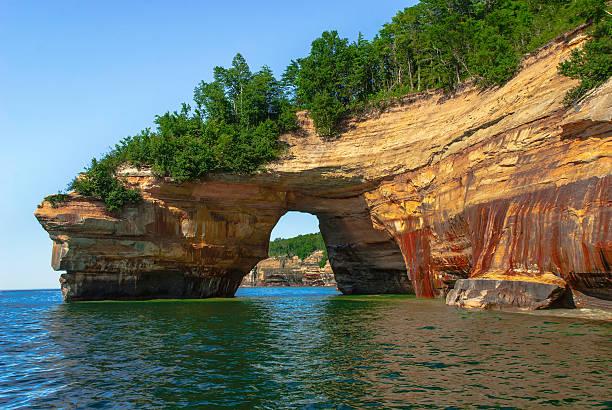 Conforme demonstrado Pedras Nacional Lakeshore. Michigan, EUA. - foto de acervo