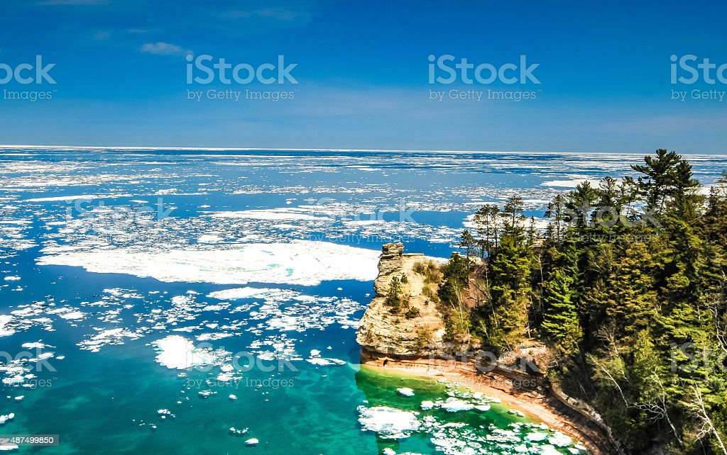 Pictured Rocks National Lakeshore - Miners Castle rock formation stock photo