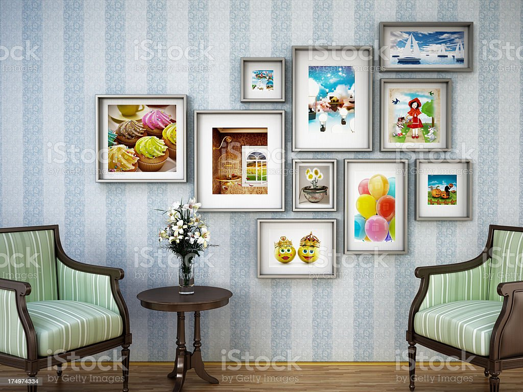 Pictures at home stock photo