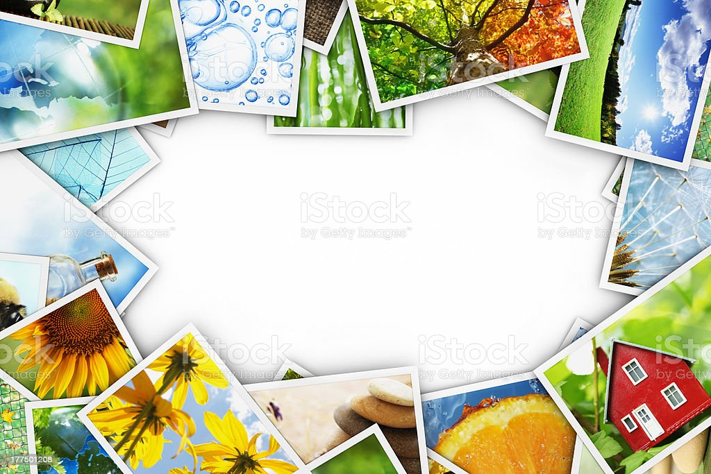 Pictures cards collection hanging on a white background royalty-free stock photo