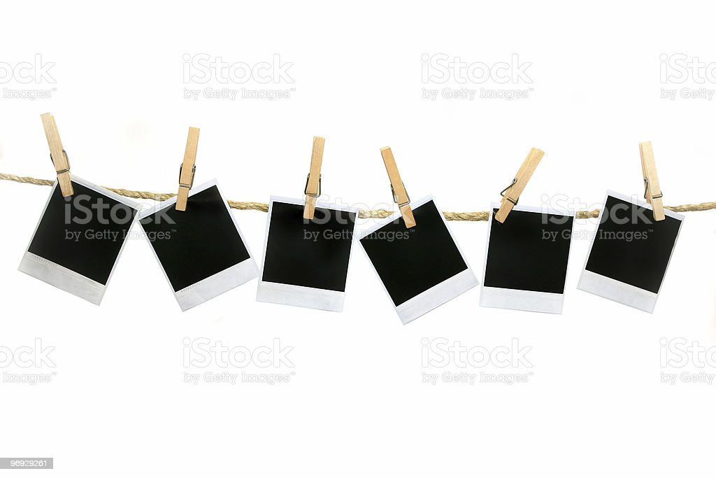 Pictures Hanging on Rope No Shadow Easily Extracted royalty-free stock photo