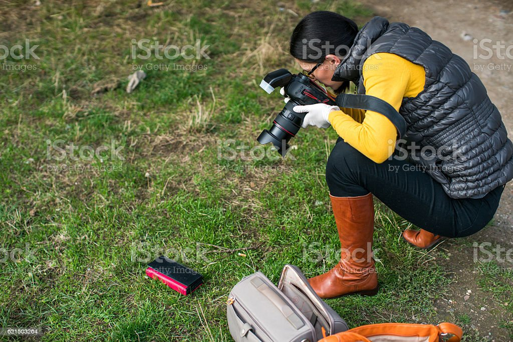 Pictures of a crime scene foto stock royalty-free