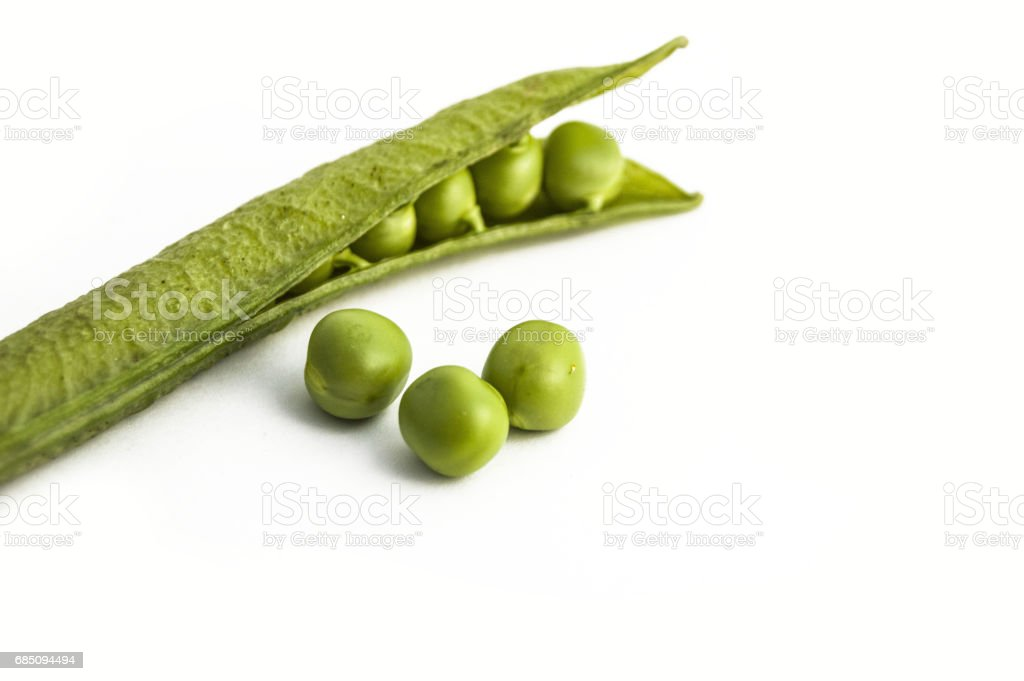 Pictures of peas and pea grains with white background on peas back to the cannon pea box royalty-free stock photo