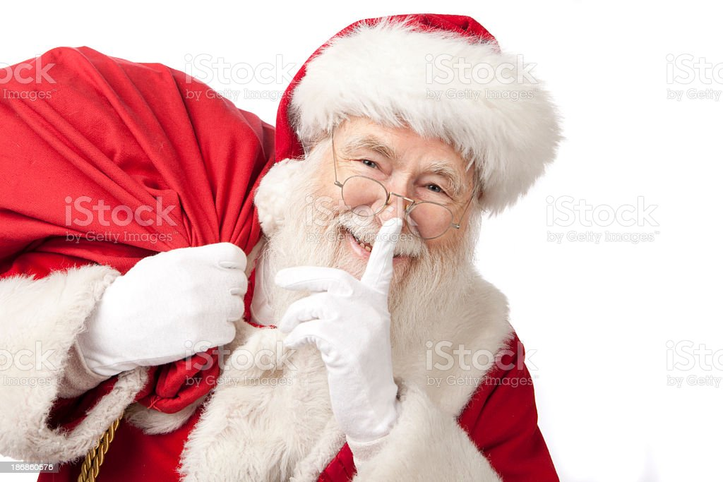 Pictures of Real Santa Claus Carrying A Gift Bag stock photo