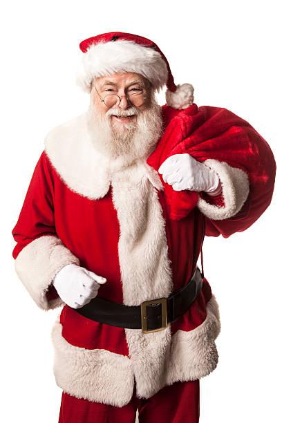 bilder von echten santa claus hat ein geschenk einkaufstasche - santa stock-fotos und bilder