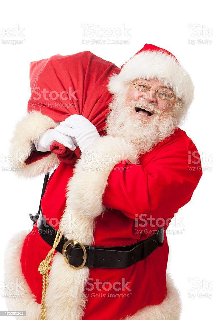 Bilder von echten Santa Claus mit ein Geschenk Einkaufstasche – Foto