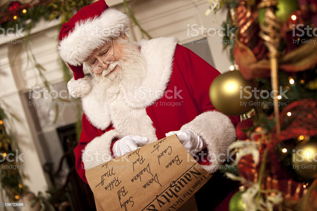 Pictures of Real Santa Claus's List He's Checking Twice stock photo
