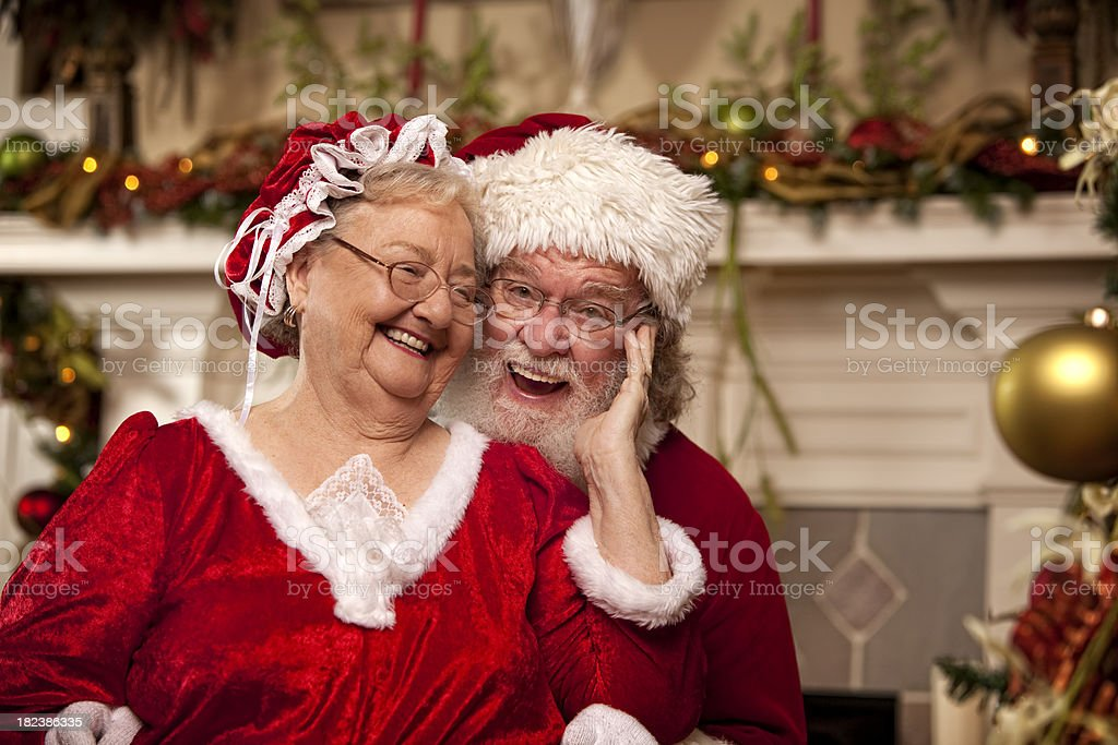 Pictures of Real Santa dances with Mrs. Claus stock photo