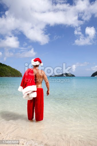 istock Pictures of Real Santa on vacation 174353033