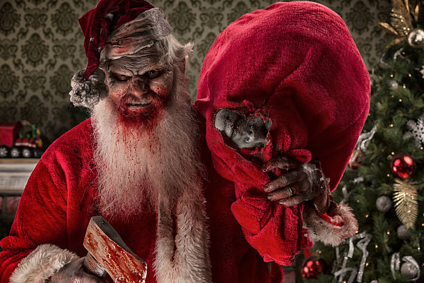 bilder von echten santa zombie mit opfer - zum totlachen stock-fotos und bilder