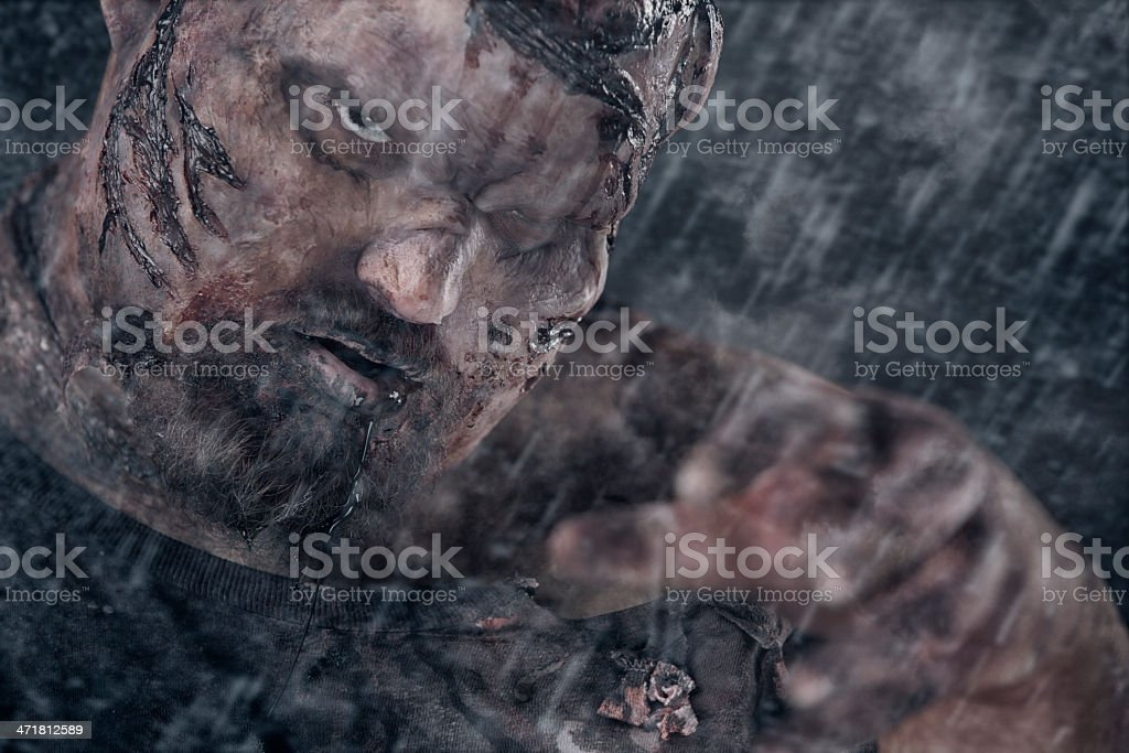 Pictures of Real Zombie attack in the rain royalty-free stock photo