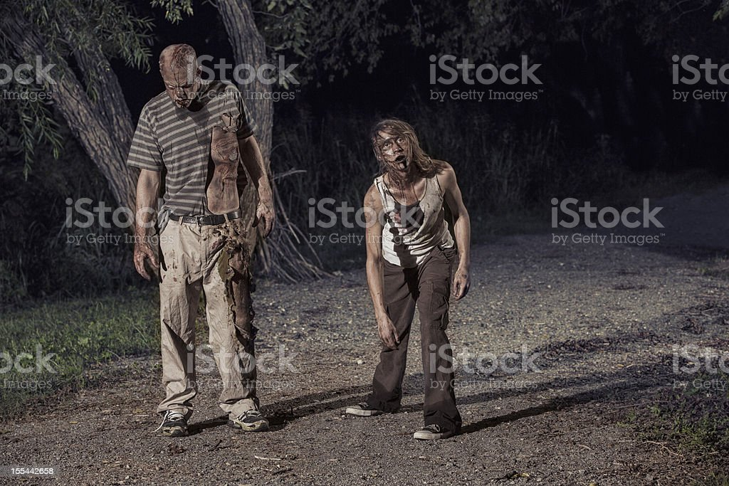 Pictures of Real Zombies in the woods stock photo