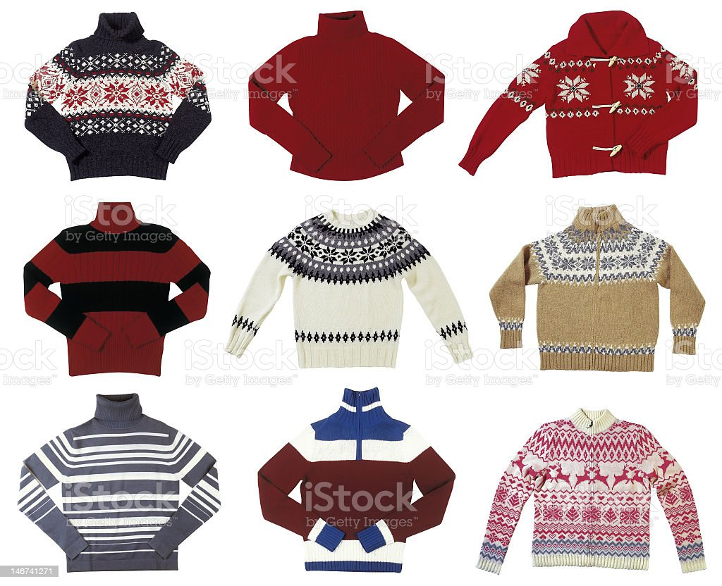 Pictures of various pullover sweaters stock photo