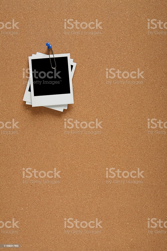 Pictures on Cork Board royalty-free stock photo