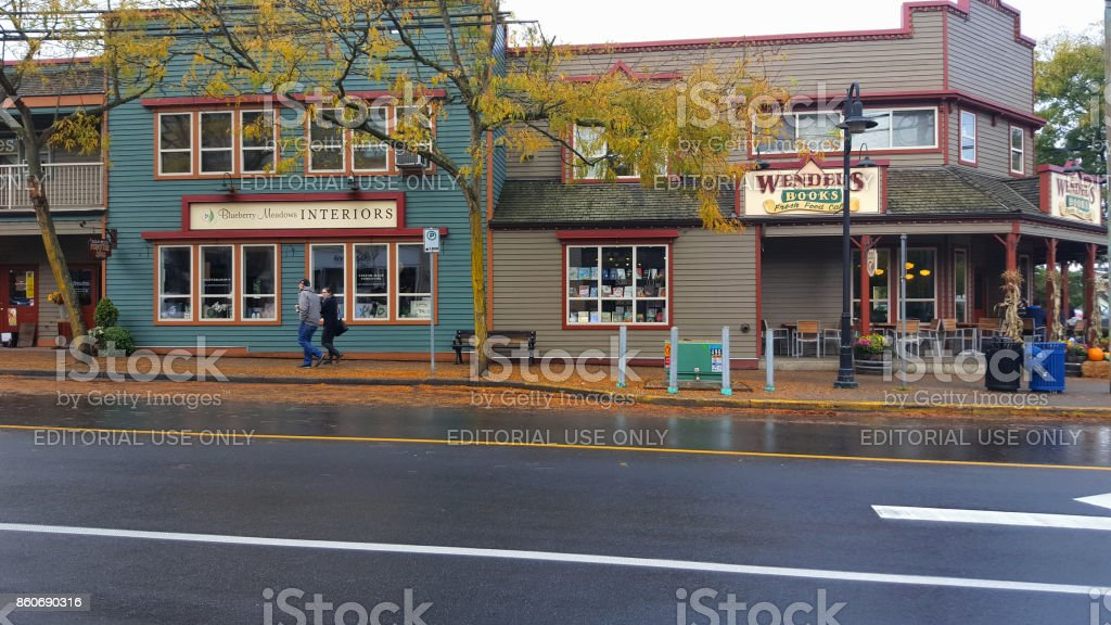 Picturesesque Small Town On A Wet Autumn Day stock photo