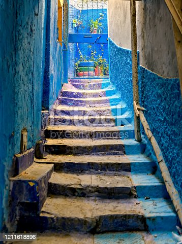 istock Picturesque alley in old town Tangier, Morocco. 1211618896