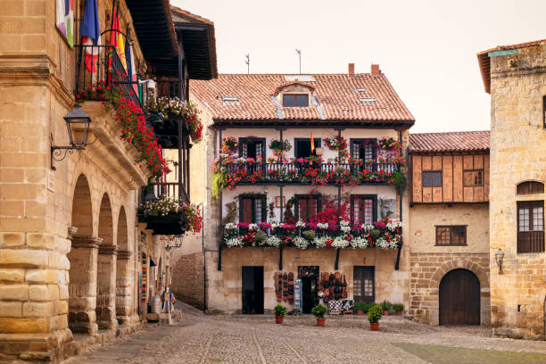 Picturesque and medieval village in Santillana de Mar, Cantabria, Spain Wonderful architectural building of the old streets of Santillana de Mar santander spain stock pictures, royalty-free photos & images