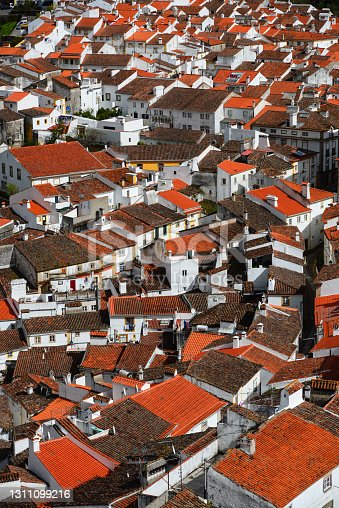 The rooftops and whitewashed walls of the historic town of Castelo de Vide, Alto Alentejo, Portugal