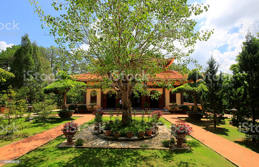 Picturesque area Buddhist monastery Truc Lam stock photo