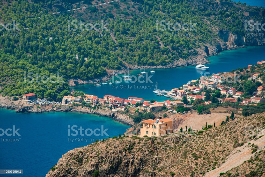 Picturesque Assos village in Kefalonia ionian island in Greece stock photo