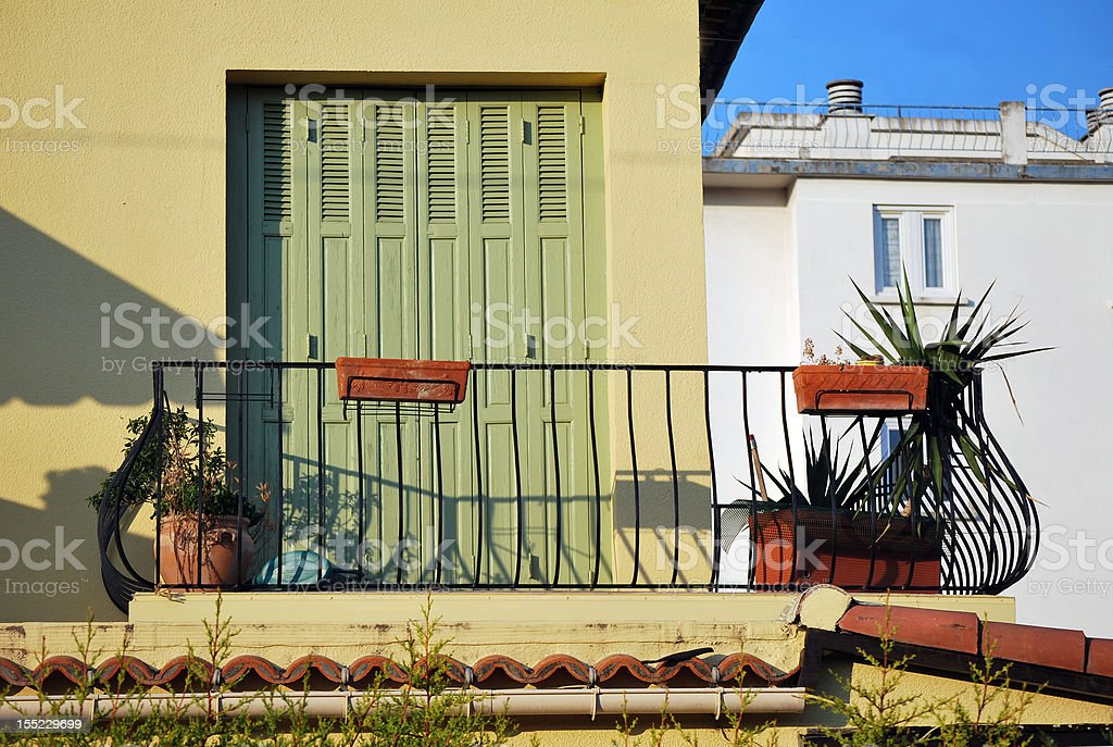 Picturesque balcony in Provence, France stock photo
