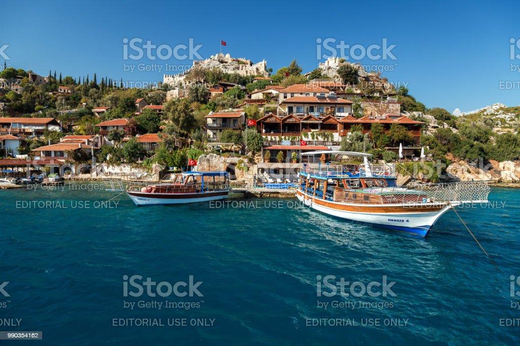 Kekova Adası, Türkiye nin Kemer 14 Ekim 2017 pitoresk Körfezi stok fotoğrafı