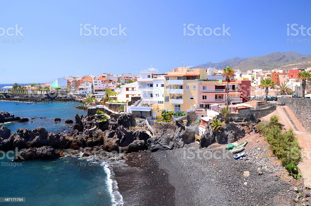 Picturesque beach and volcanic rocks in Alcala on Tenerife, Spain stock photo