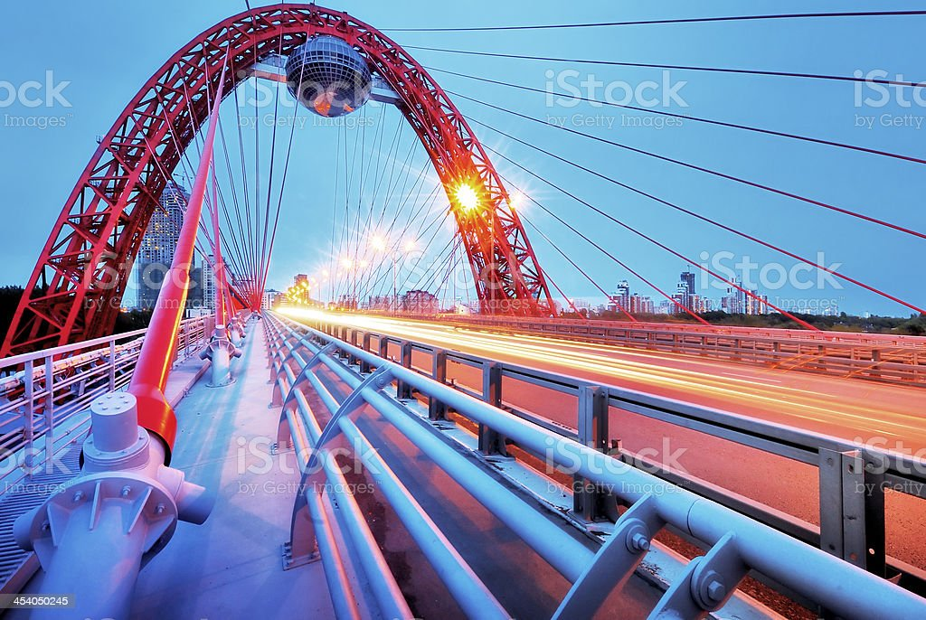 Picturesque bridge, observation deck, restaurant ellipsoid. Moscow royalty-free stock photo