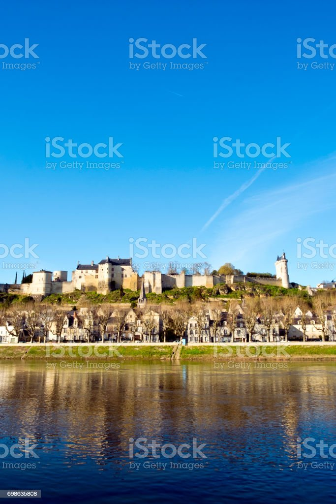 Picturesque Chinon town on the River Vienne, France stock photo