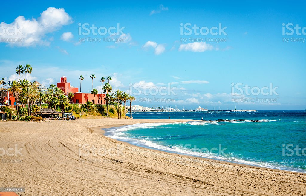 Picturesque coast in Benalmadena town stock photo